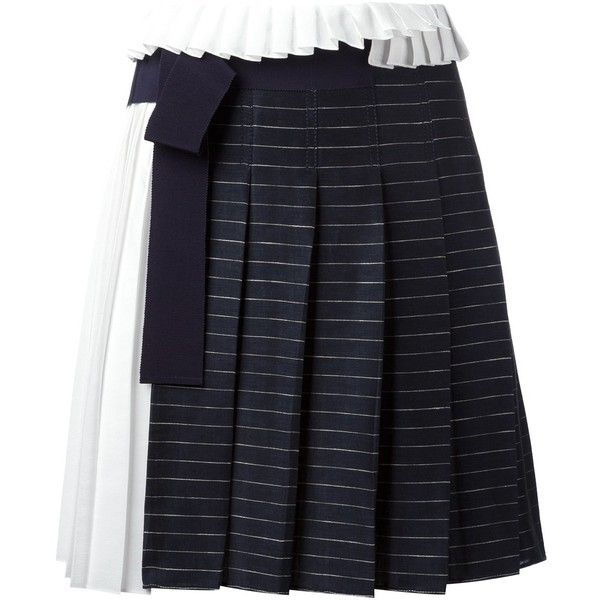 Victoria Victoria Beckham striped pleated skirt (540 AUD) ❤ liked on Polyvore featuring skirts, blue, knee length pleated skirt, striped skirts, navy skirt, blue pleated skirt and stripe skirts