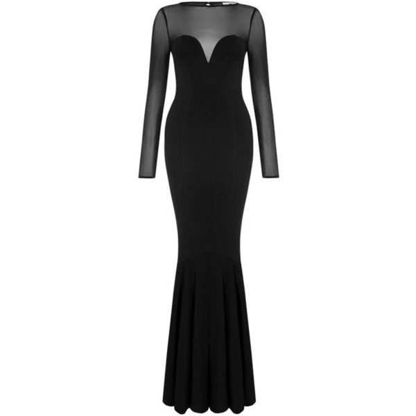 Collectif Gothic Morticia Fishtail Dress ❤ liked on Polyvore featuring dresses, long sleeve mesh dress, fish tail dress, long sleeve dress, sweetheart neck dress and long sleeve day dresses