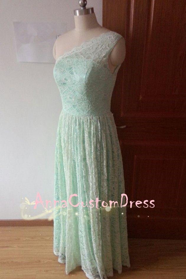 One-shoulder Backless Long Mint Lace Bridesmaid Dress