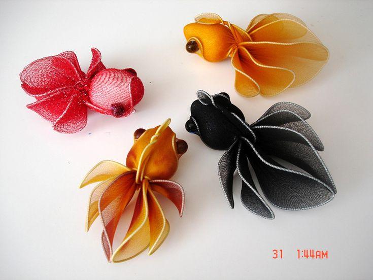 NUEVA LLEGADA!!! (48pcs/lot) Hermosas Nylon Flor Goldfishes, artes hechos a mano libre del envío vía EMS-inBathroom Productos de Hogar y Jardín en Aliexpress.com