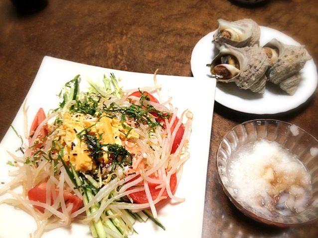 付け合わせは、なまこ酢とサザエのつぼ焼き - 1件のもぐもぐ - 冷やし中華 by kanausa