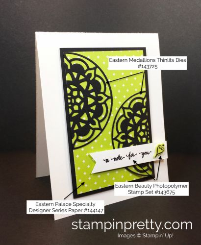 Eastern Beauty & Eastern Medallions Thinlits thank you card created by Mary Fish, Stampin' Up! Demonstrator.  1000+ StampinUp & SUO card ideas.  Read more https://stampinpretty.com/2017/04/new-wow-video-modern-eastern-medallions-card.html