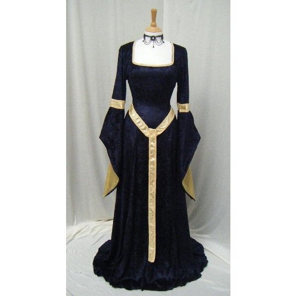 ELVEN DRESS medieval renaissance fairy dress LOTR custom made ❤ liked on Polyvore featuring costumes, dresses, medieval, blue costumes, fairy halloween costume, renaissance fairy costume, blue fairy costume and renaissance halloween costumes