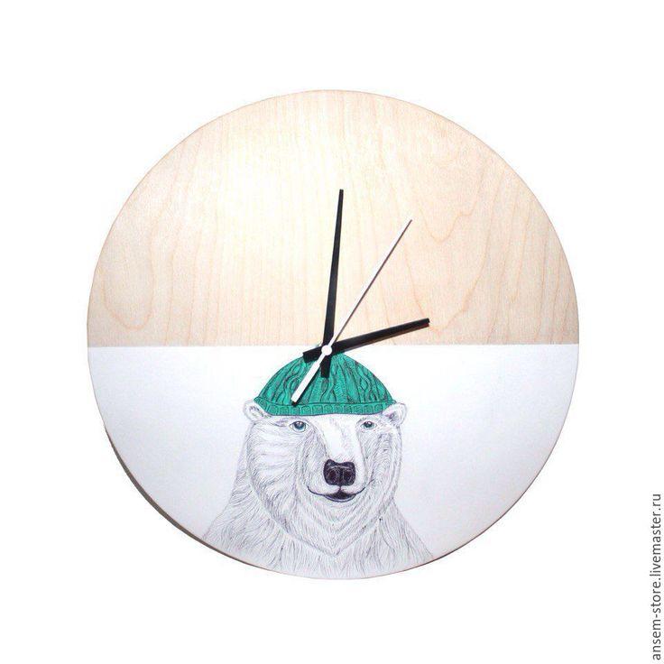Wall clock / Часы настенные медведь Бьер, из дерева. Часы ручной работы - белый, часы