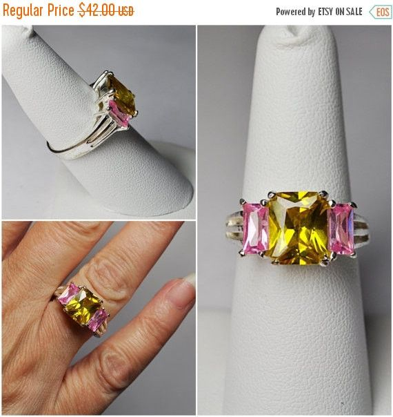 Vintage Charles Winston 925 Silver, Topaz & Pink Stone Ring, Cw, Three Stone Ring, Openwork, Size 7 1/2, Eye Popping Colors #b063