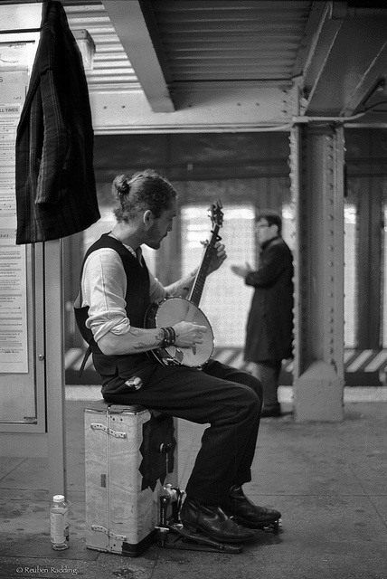 Banjo street performer in the subway