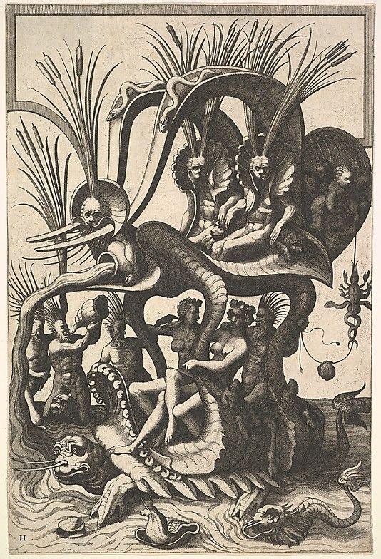 Fantastic Sea Carriage Johannes van Doetecum the elder (Netherlandish, active 1554–ca. 1600, died 1605)