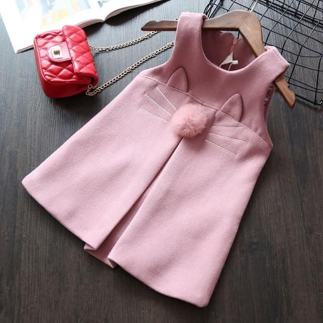 Sleeveless Kitty Face Woolen Vest Dress