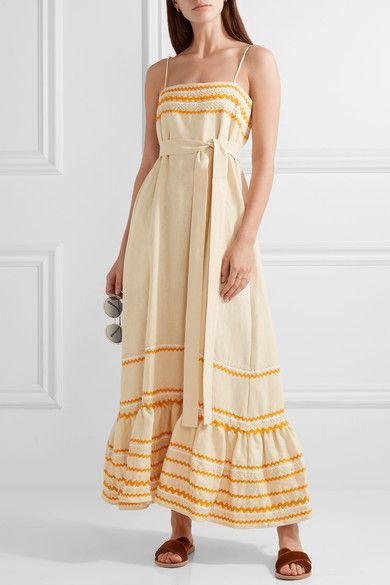 Lisa Marie Fernandez - Rick Rack-trimmed Linen Maxi Dress - Ecru - 2