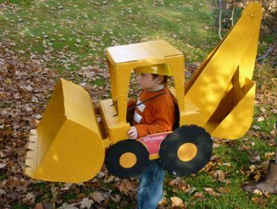 Parenting.com mom Jennifer from Washington made this backhoe loader costume for her son for #Halloween.