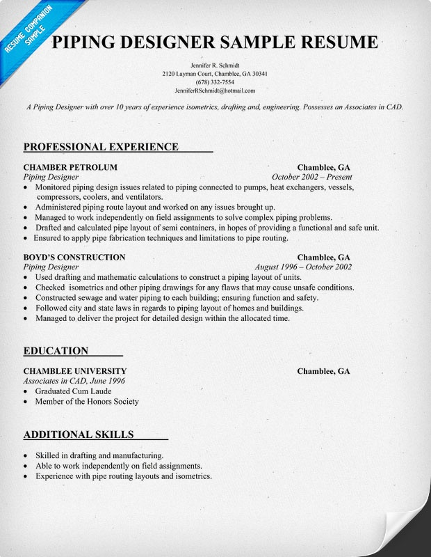 Piping Designer Resume Template resumecompanioncom