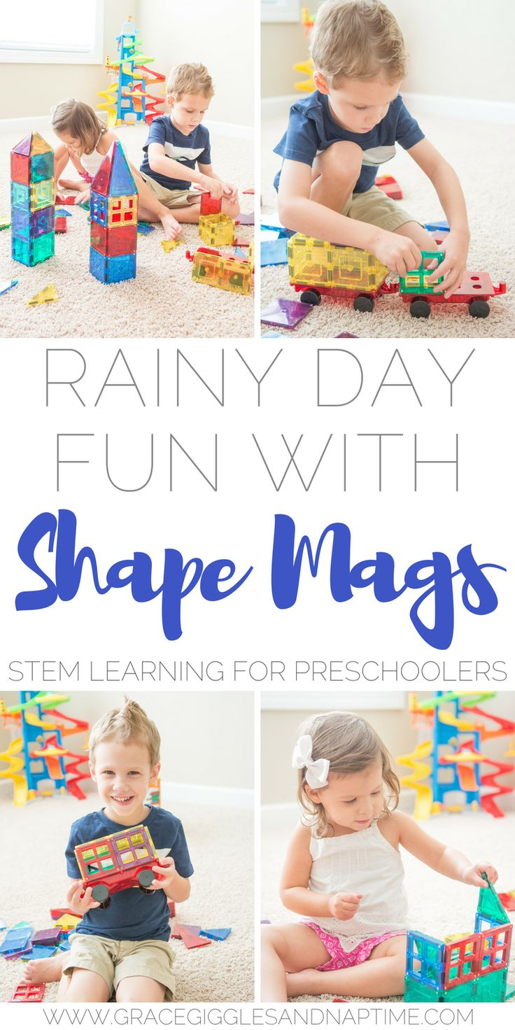 STEM learning for preschoolers with Shape Mags. A great rainy day or quiet time activity.