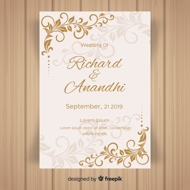 Leaf Ornaments Wedding Invitation Template Wedding Invitation Vector Free Wedding Invitation Templates Wedding Invitation Cards