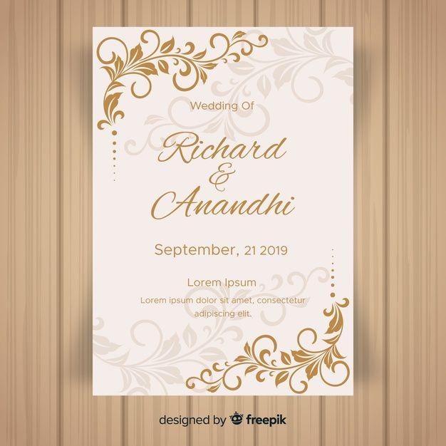 Download Leaf Ornaments Wedding Invitation Template For Free Wedding Invitation Vector Free Wedding Invitation Templates Wedding Invitation Cards