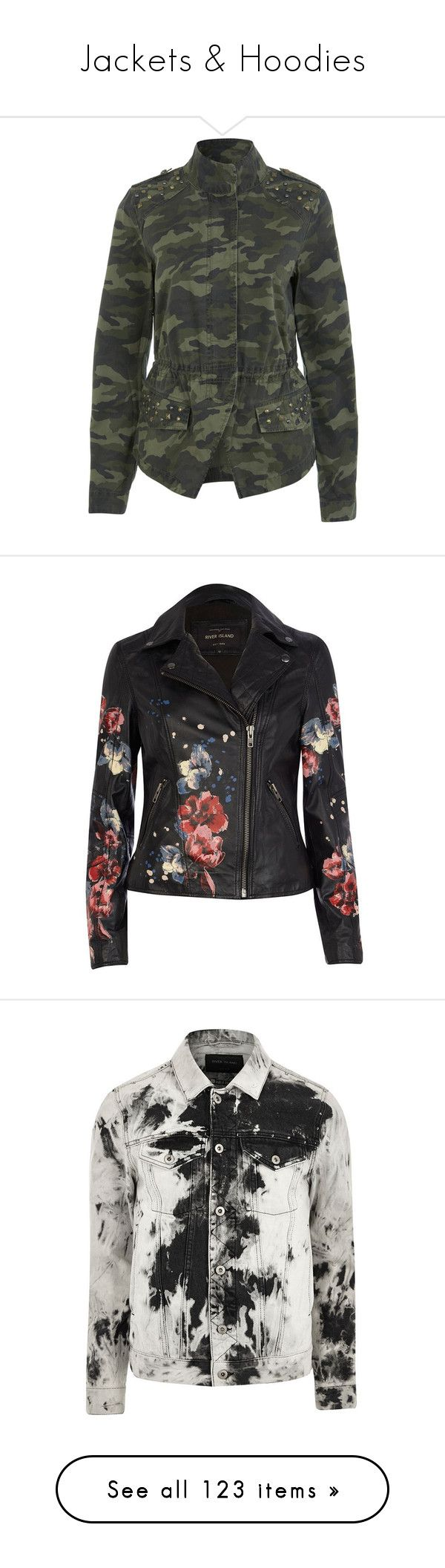 """""""Jackets & Hoodies"""" by itsbarringerbabe ❤ liked on Polyvore featuring outerwear, jackets, coats, tops, casacos, assorted, camo jackets, camouflage jacket, cotton jacket and camo print jacket"""