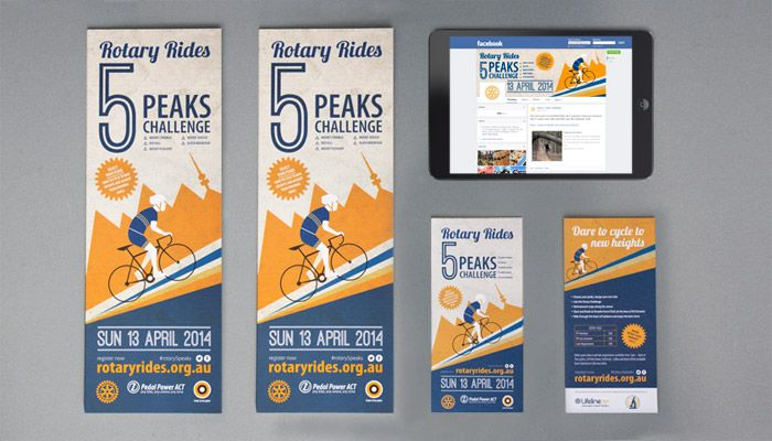 http://www.spectrumgraphics.com.au Pedal Power, Rotary Rides, 5 Peaks Challenge branding material, design, artwork, layout, typesetting, publication, flyer, graphic design, infographics, business cards, contents page, front cover, internal spread, cycling, bikes, bike, ride, road bike