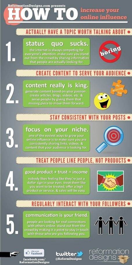 How to increase your Online InfluenceInfluence Infographic, Increa Online, Online Influence, Social Marketing, Internet Marketing, Social Media, Content Marketing, Socialmedia, Howto