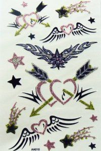 Yimei Glittering Temporary Tattoo for Women Female and Youth Waterproof Fake Tattoo (Glittering Colorful Wings of Angel, Arrows of Love, Shooting Stars) by YiMei. $1.07. easily water transfer on and remove by baby oil.. Ships from and sold by MicroDeal, MicroDeal® Trademark cleaning cloth around 4.7 Inch, one piece per order.. long lasting for 5~7 days.. F.D.A, EN71, ASTM or CE approval. Non-toxic.. Fashionable, eye catching designs.. F.D.A, EN71, ASTM or CE ...