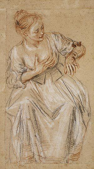 Watteau (1684-1721), Seated Woman,1716-17, tekening met zwart, rood en wit krijt