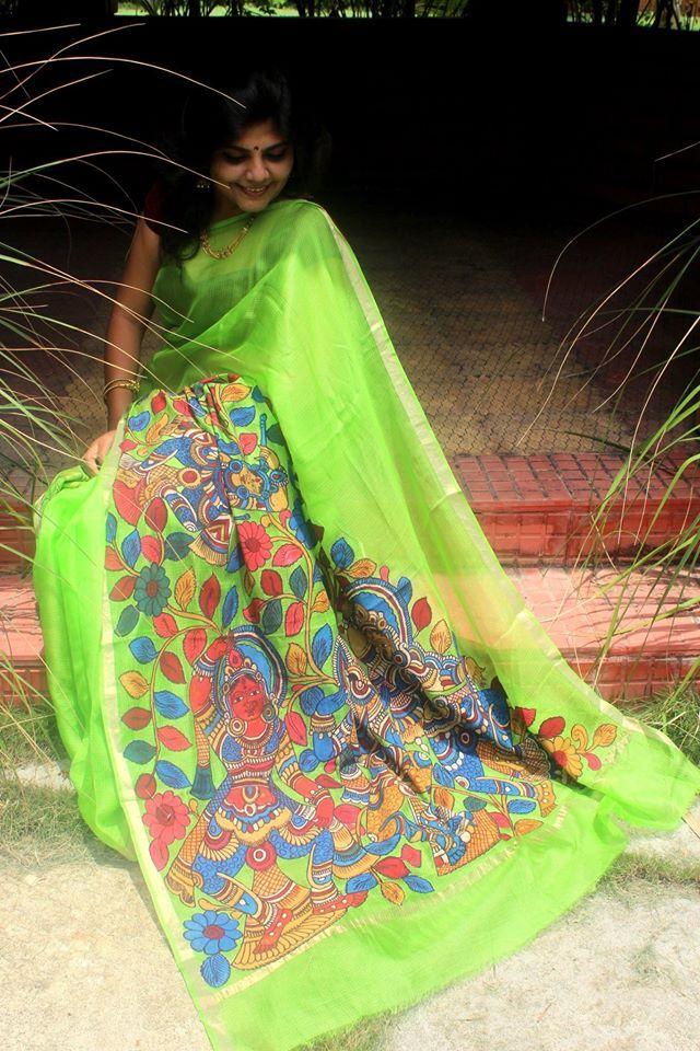 Kalamkari Kota Silk Applique Saree   Buy Online Sarees   Elegant Fashion Wear