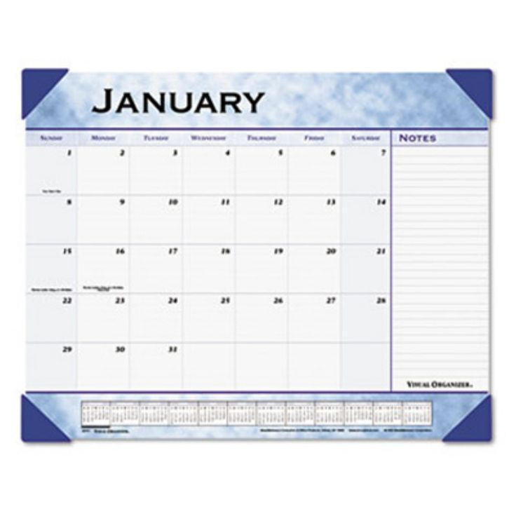 At-A-GLANCE Slate Blue Desk Pad, 22 x 17, Slate Blue, 2017 - AAG89701