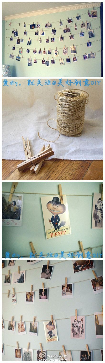 Simple diy•hang your favourite photos on a string with clothes pins for a cute room decoration                                                                                                                                                      More