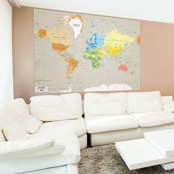 Mappa del mondo per decorare una parete #mappa #politica #adesivi #murali #vinile #deco #decorazione #muro #StickersMurali