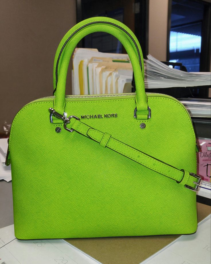 Michael Kors Handbags This is my new Cindy Med Dome Satchel in Pear. Isn't it perfect for spring!