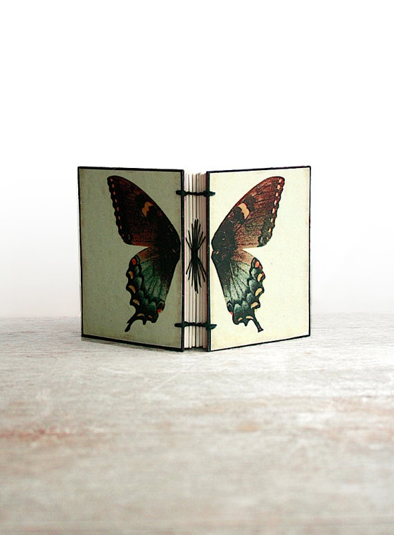 handstitched butterfly journal- I love the stitching that forms the butterfly's body!