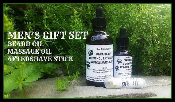$19.99 MENS GIFT SET Beard Oil Set Fathers Day Gift by BeeBlissfulBeauty