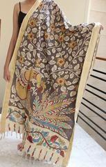 Floral 'Pen Kalamkari' Cotton Dupatta with Peacock Design