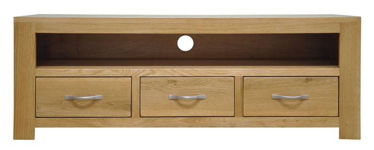 Saconi Large TV Unit 3 Drawers Classic Style Oak Fully Assembled With Chrome Handles