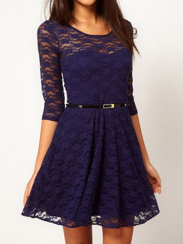 dark blue lace dress with black belt, seems like there is a lot of colors that would match the shoes