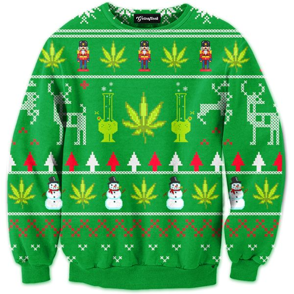 Weed Ugly Christmas Sweater Sweatshirt | Dope Design | Pinterest ...