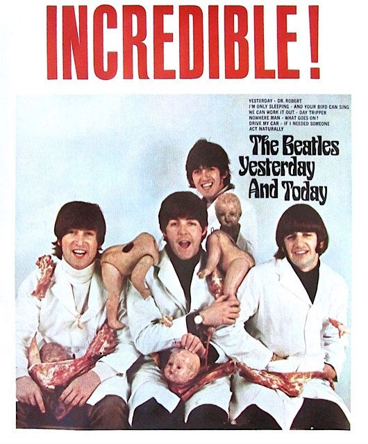 Description: THE BEATLES (English Rock Band) Yesterday & Today Butcher Cover In-Store Promotional Poster. ©1966.  Condition: Excellent Condition