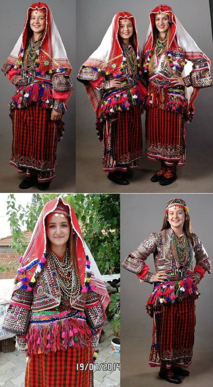 Young women wearing the traditional festive costume from the Pomak villages in the Biga district (Çanakkale province).  The Pomaks are Muslim immigrants from Bulgaria; they immigrated at the end of 19th century.  (Source: 'Biga Pomaklar Derneği', 2014).