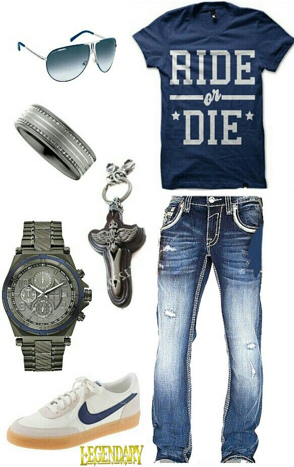 Men's blue casual outfit