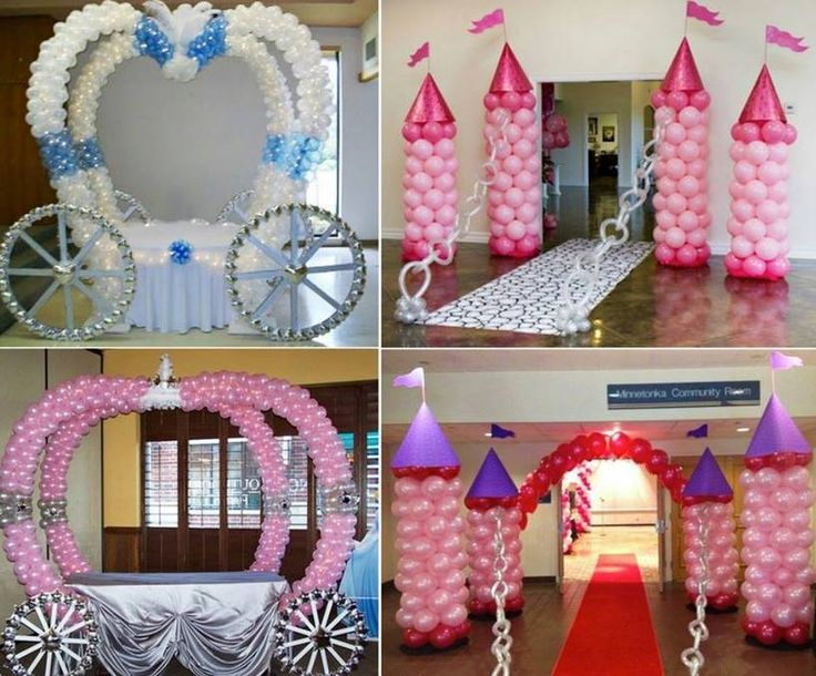 Cinderella Balloon Carriage and Balloon Turret Castle Decorations perfect for your party