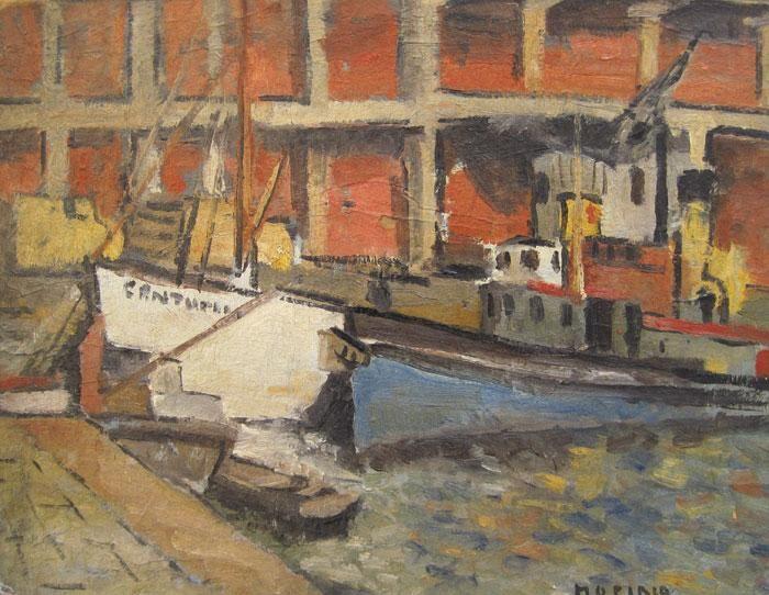 """María Olga Piria (Taller Torres García) """"Puerto de Montevideo"""" Óleo sobre cartón 37 X 47 cms. Año 1947 http://www.portondesanpedro.com/ver-producto.php?id=9840"""
