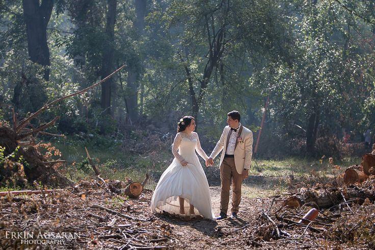 Fırtınanın yıkıp geçtiği ormanda düğün fotoğrafları
