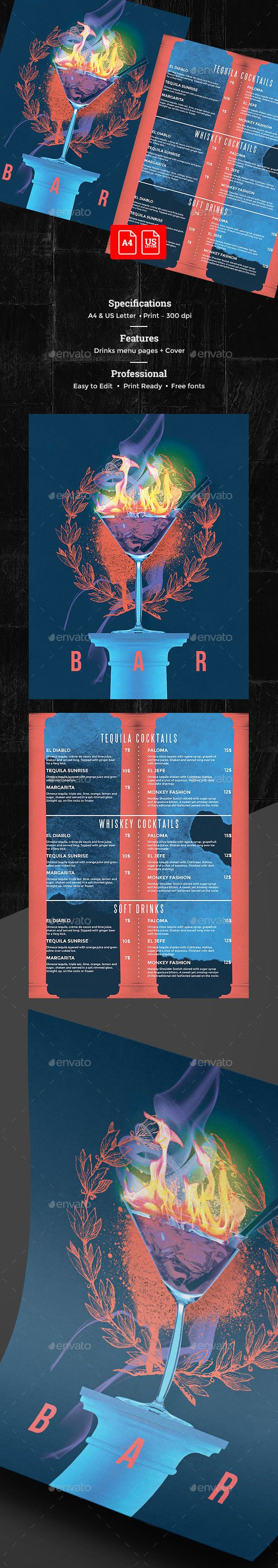 Cocktail Drinks Menu — Photoshop PSD #restaurant #cocktail drinks • Download ➝ https://graphicriver.net/item/cocktail-drinks-menu/19904485?ref=pxcr