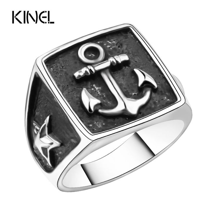 Kinel Punk Vintage Anchors Ring Unique Shape Plating Silver Black Enamel Rings For Men Bohemian Men's Jewelry