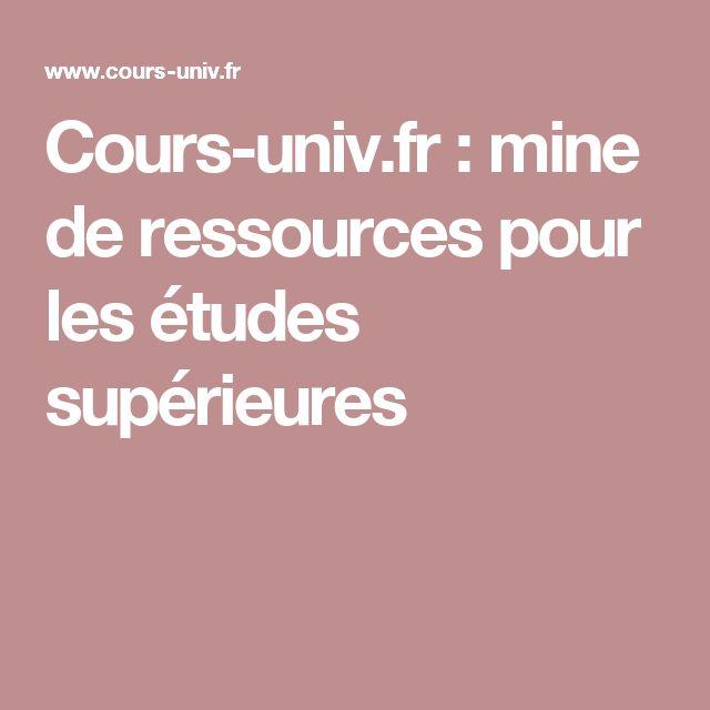 Cours-univ.fr : mine de ressources pour les études supérieures