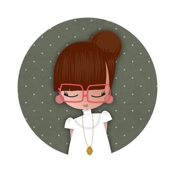 pocket mirror cute illustration  vintage girl // by studiosofie: