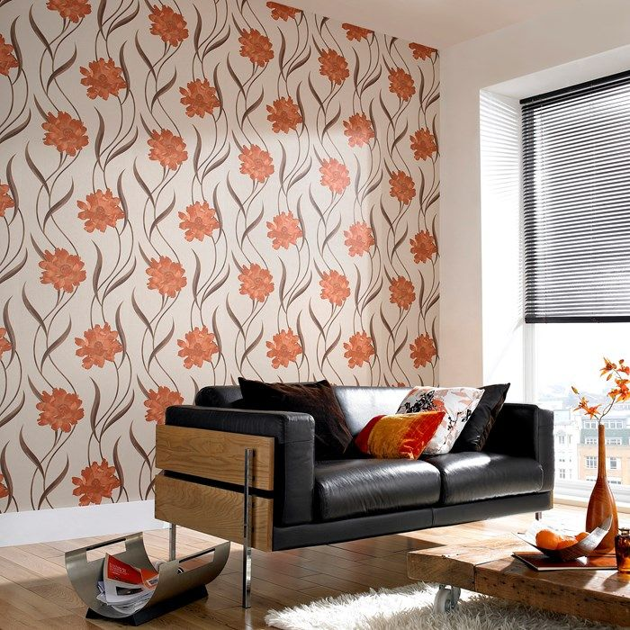Poppy burnt orange cream wallpaper by graham and brown for Brown wallpaper ideas for living room