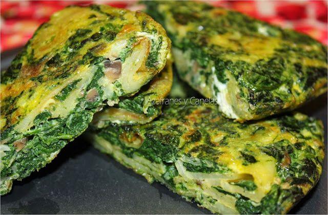 Tortilla de espinacas y champiñones   Azafranes y Canelas