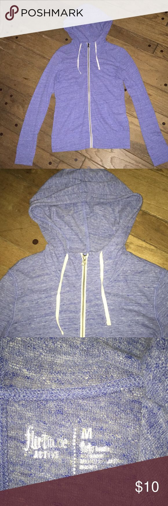 NWOT Hoodie Brand new without tags!! Heathered light periwinkle blue zip up hoodie sweatshirt. Lightweight material. Cowl neck style. Front pockets. White zipper and drawstrings for contrast. Super adorable hoodie! Women's size medium. Tops Sweatshirts & Hoodies