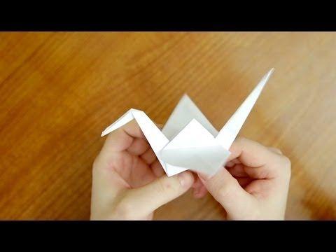 Оригами журавль из бумаги | Как сделать Оризуру (Orizuru/折鶴) - YouTube