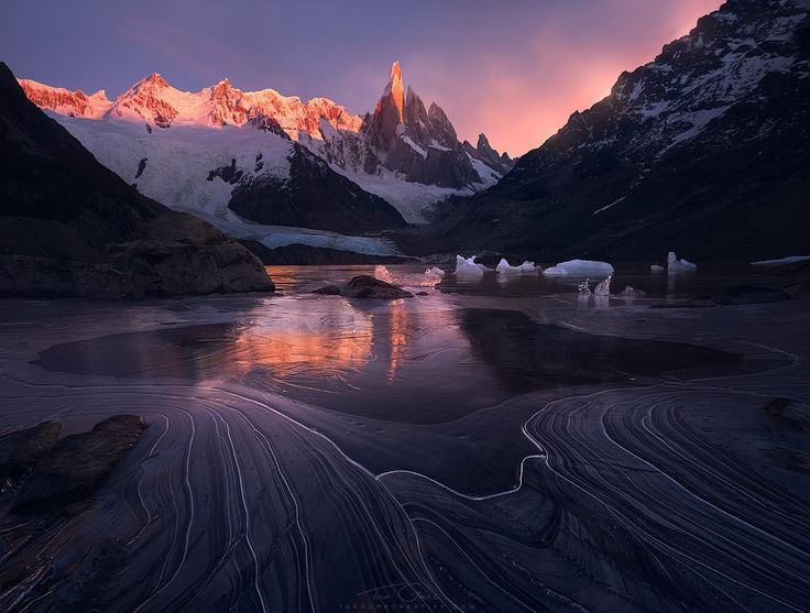 # 3 - Torre Del Terror  I just recently posted this so sorry for the repeat! Another shot of Cerro Torre from Patagonia takes a spot on my top 6 of 2015 list for a couple reasons. First were the unique conditions I got on this frigid morning leaving lots of awesome lines in the thin layer of ice on Lago Torre. Second was the story that went along with this shot. The night prior to this was pretty terrifying and if you don't know the story yet I would encourage you to go check it out on my…