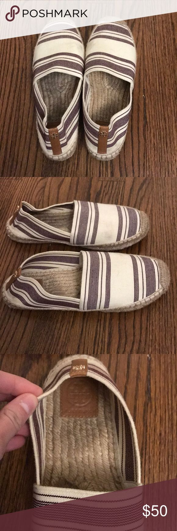 Tory Butch Espadrilles size 9 Tory Burch purple stripes espadrilles. They have a couple of markings around the shoe. Tory Burch Shoes Espadrilles